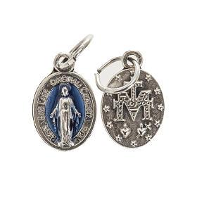 Medalla ovalada Milagrosa metal y esmalte azul 12mm s1