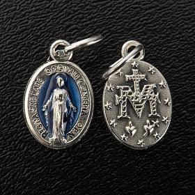 Medaglia Miracolosa ovale metallo e smalto blu h 12 mm
