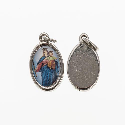 Medalla Auxiliadora metal niquelado resina 1,5x1cm 1