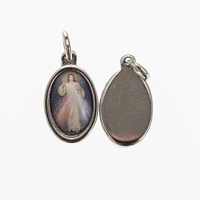Medaglia Gesù Misericordioso metallo nichelato resina 1,5x1 cm s1