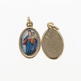 Medals: Mary Help of Christians medal in golden metal, resin 1.5x1cm