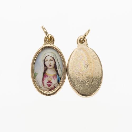 Medalla Sagrado Corazón de María dorado resina 1,5 1