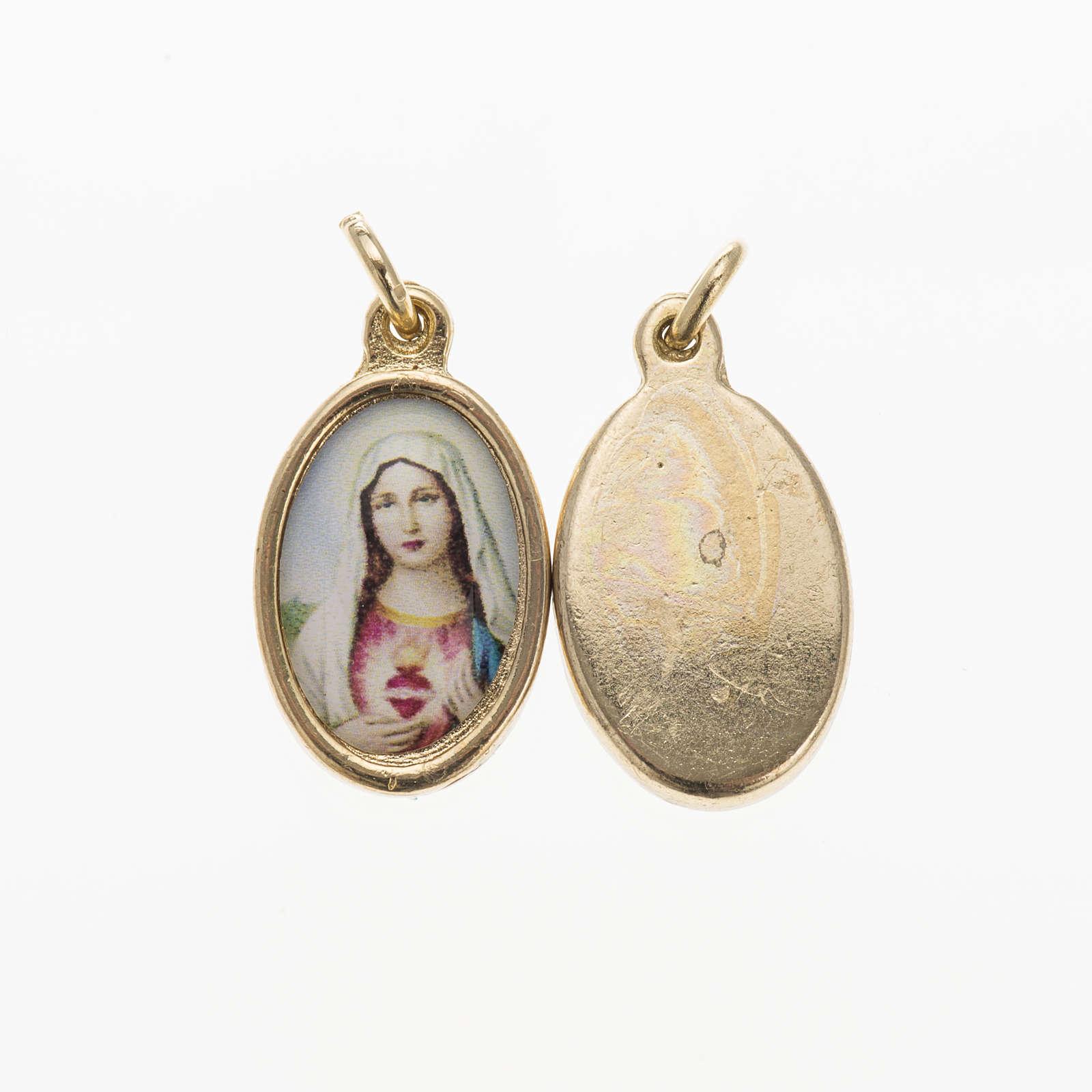 Medaglia Sacro Cuore di Maria metallo dorato resina 1,5x1 cm 4