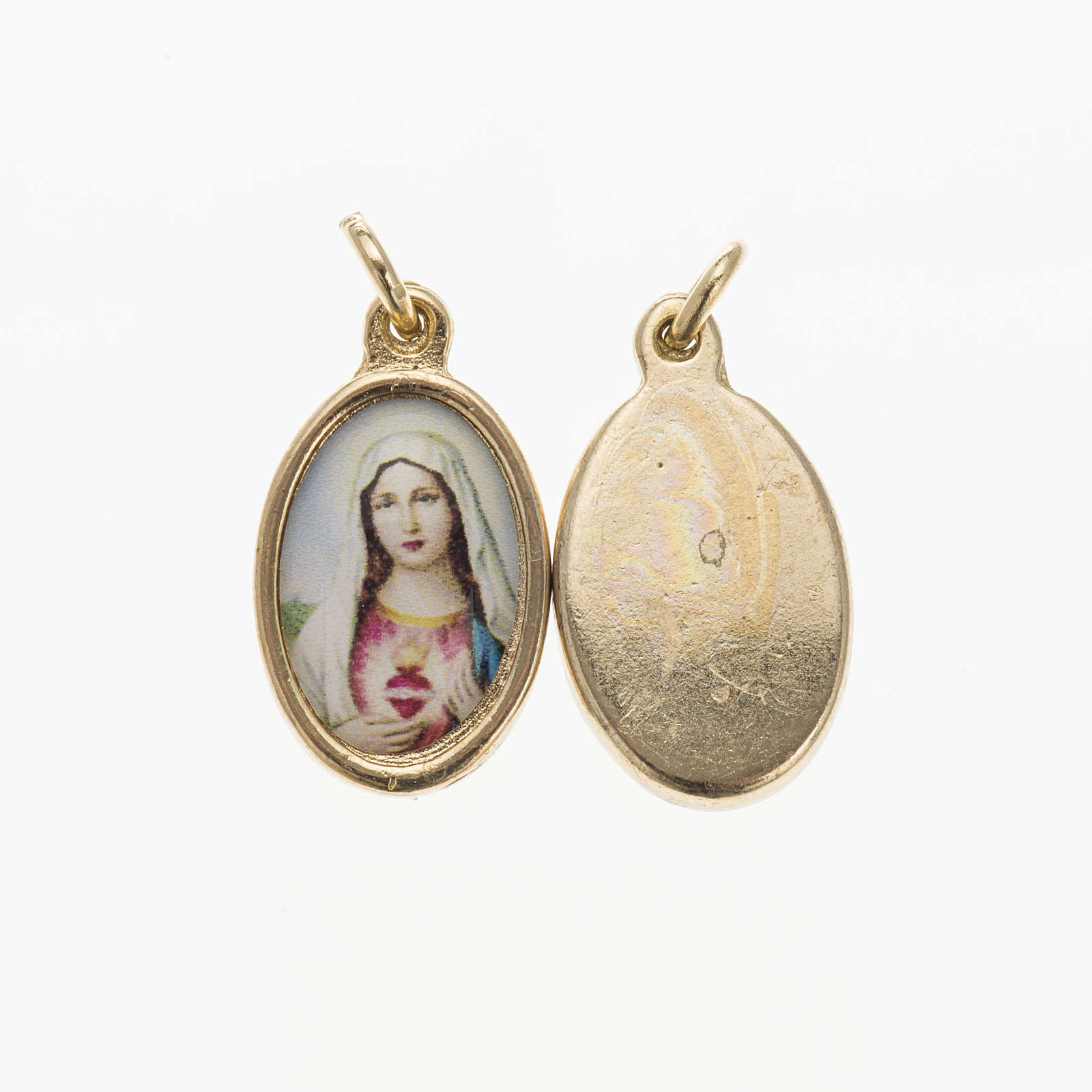 Sacred Heart of Mary medal in golden metal and resin 1.5x1cm 4