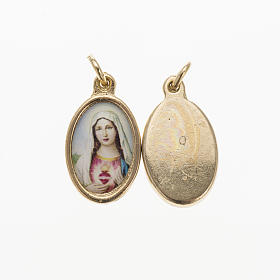 Medals: Sacred Heart of Mary medal in golden metal and resin 1.5x1cm