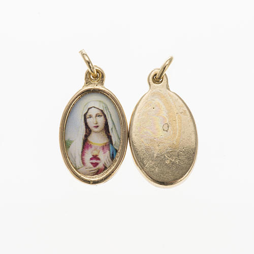 Sacred Heart of Mary medal in golden metal and resin 1.5x1cm 1