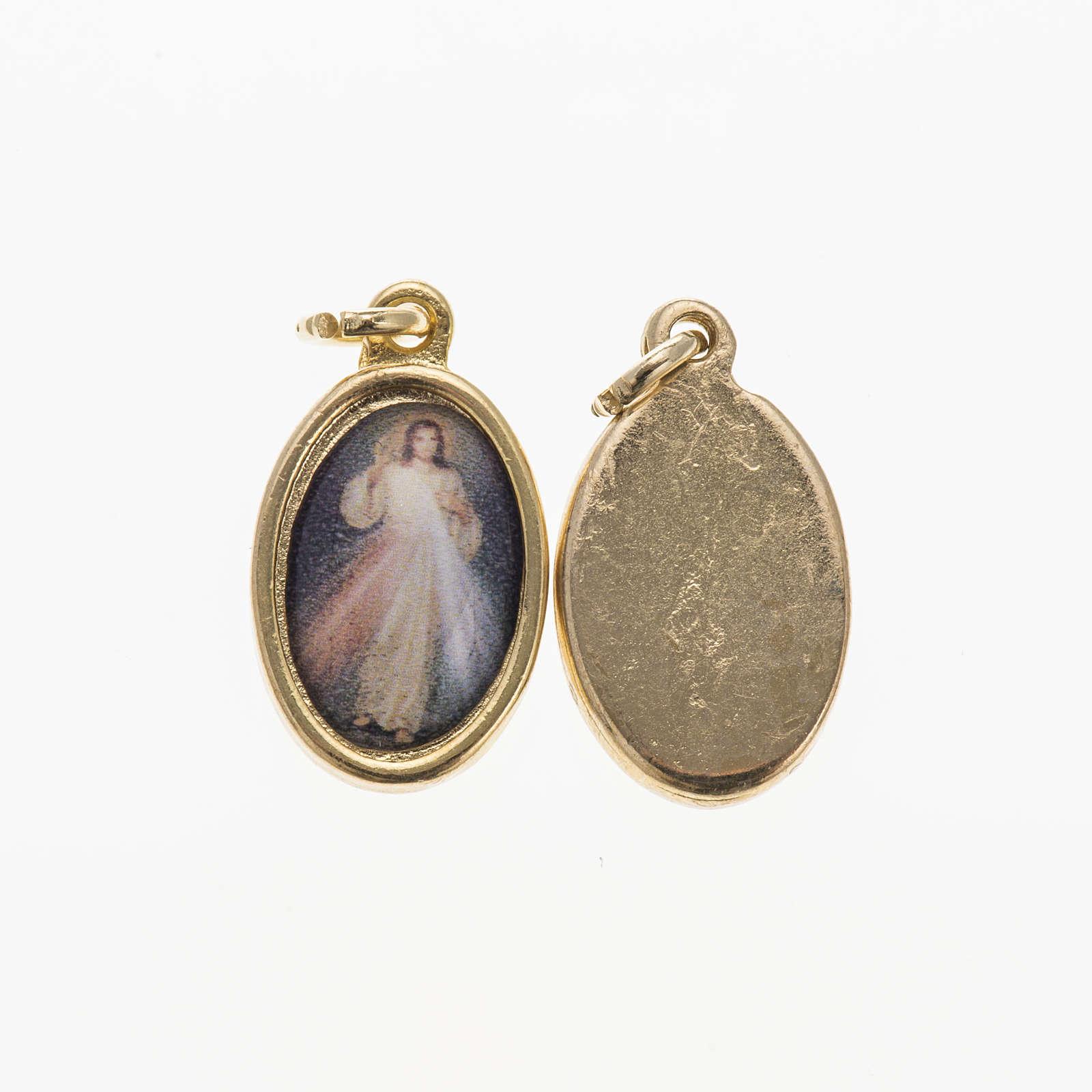 Medalla Jesús Misericordioso metal dorado resina 1,5x1cm 4