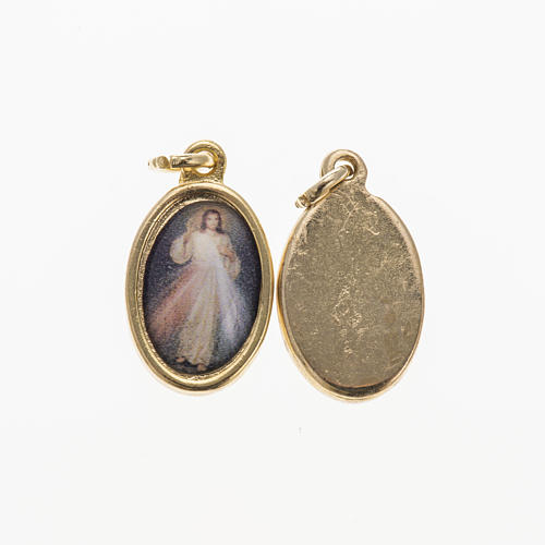 Medalha Cristo Misericordioso metal dourado resina 1,5x1 cm 1