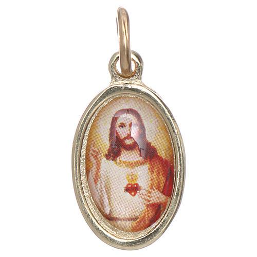 Medaglia Sacro Cuore Gesù metallo dorato resina 1,5x1 cm 1