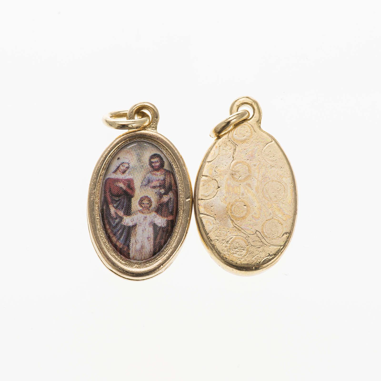 Medaglia Sacra Famiglia metallo dorato resina 1,5x1 cm 4