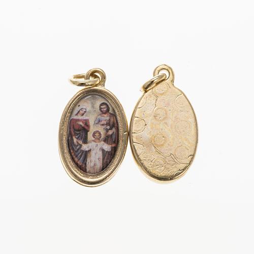 Medaglia Sacra Famiglia metallo dorato resina 1,5x1 cm 1