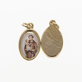 Saint Anthony of Padua medal in golden metal and resin 1.5x1cm s1