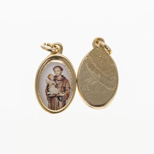 Saint Anthony of Padua medal in golden metal and resin 1.5x1cm 1
