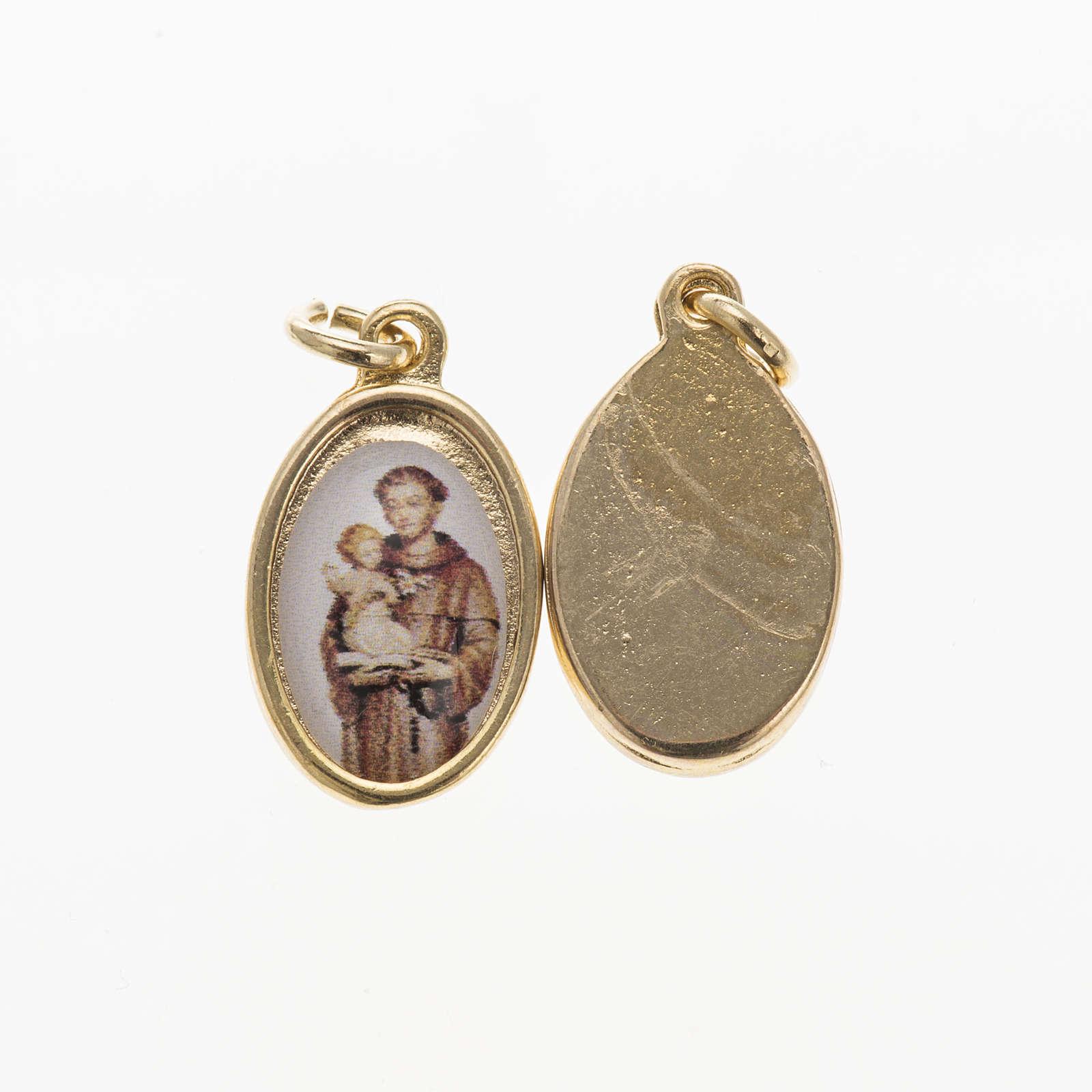 Medaglia Sant'Antonio da Padova metallo dorato resina 1,5x1 cm 4