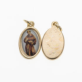 St Francis medal in gilded metal and resin 1,5x1cm s1