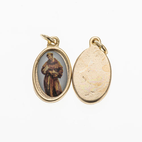 St Francis medal in gilded metal and resin 1,5x1cm 1