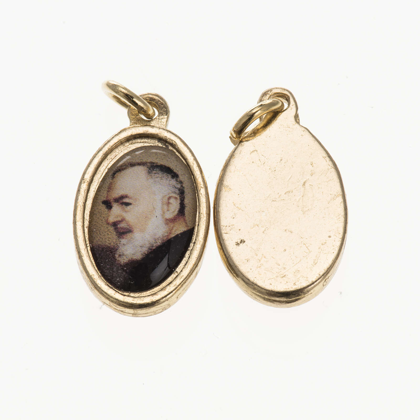 Medaglia Padre Pio da Pietrelcina metallo dorato resina 1,5x1 cm 4