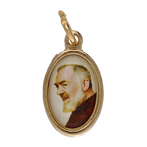 Medal Padre Pio of Petralcina in golden metal and resin 1.5x1cm 1