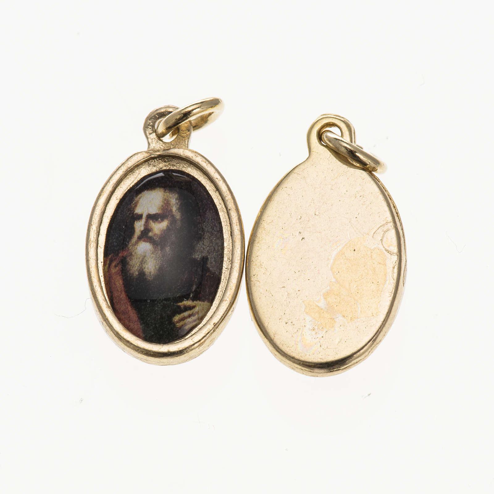 Medalla rostro San Paolo metal dorado resina 1,5x1cm 4