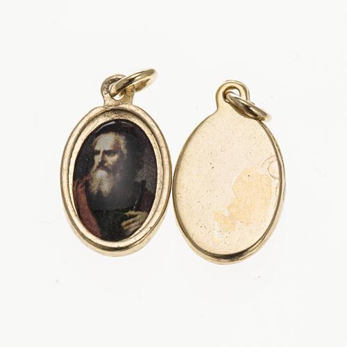 Medalla rostro San Paolo metal dorado resina 1,5x1cm 1