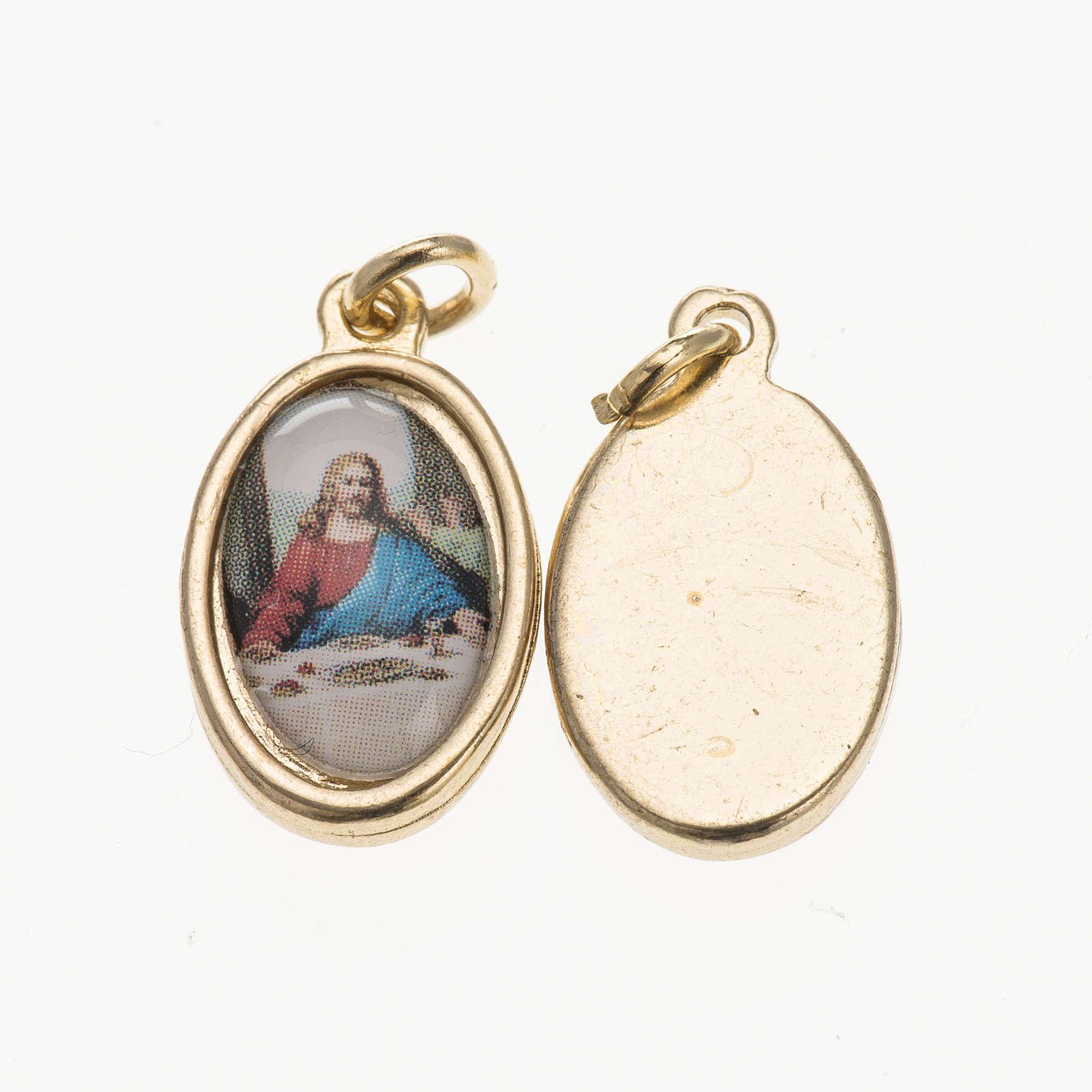 Medalla Última Cena metal dorado resina 1,5x1cm 4