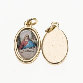 Medalla Última Cena metal dorado resina 1,5x1cm s1