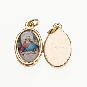 Medals: Medal Last Supper in golden metal and resin 1.5x1cm