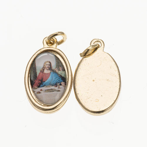 Medal Last Supper in golden metal and resin 1.5x1cm 1