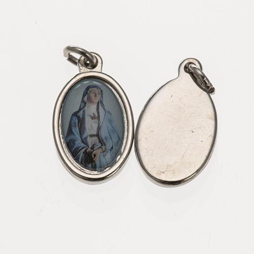 Medaglia Madonna Addolorata metallo argentato resina 1,5x1 cm