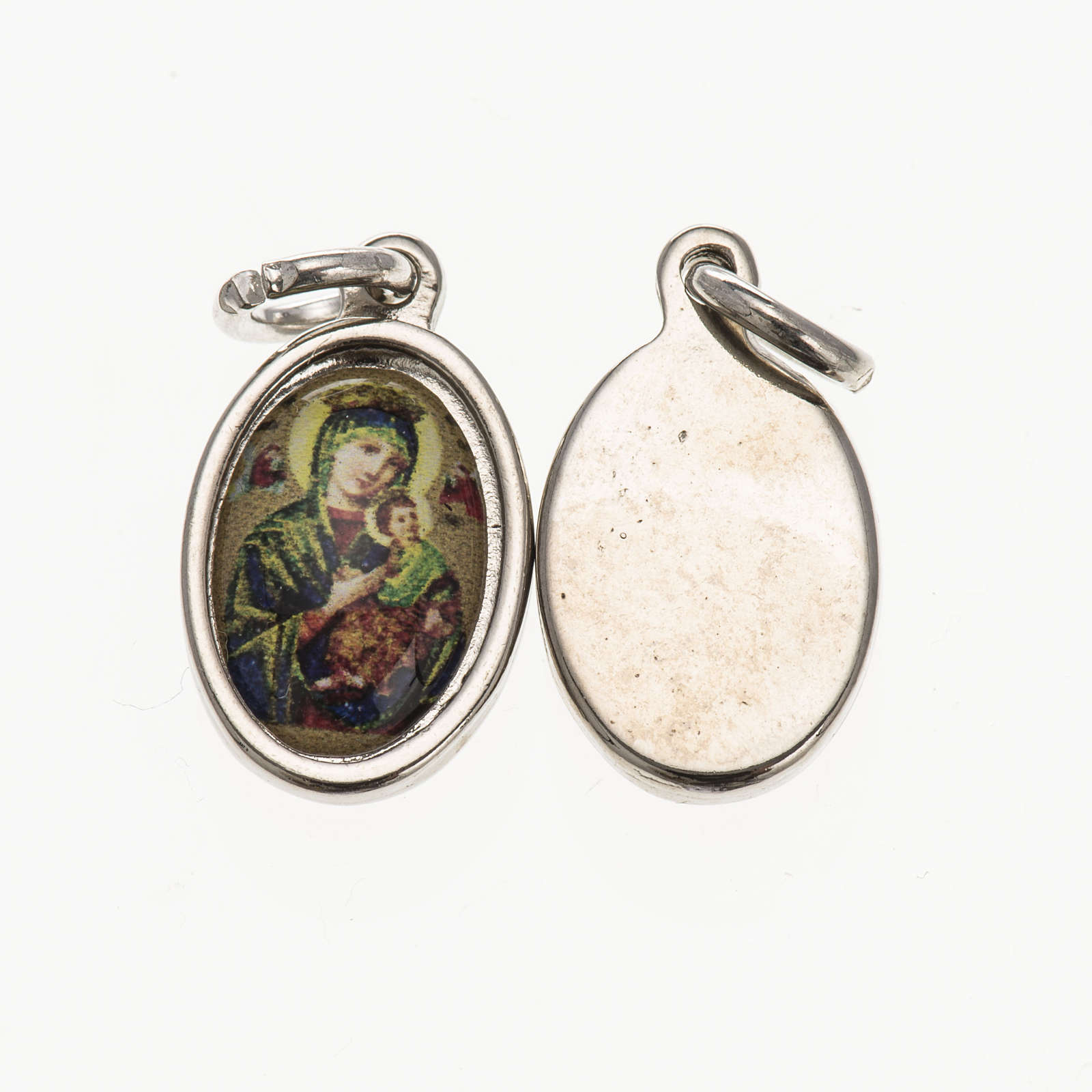 Our Lady of Perpetual Help in silver metal and resin 1.5x1cm 4