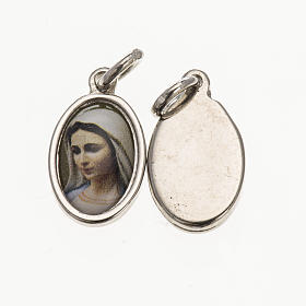 Medals: Medal Our Lady of Medjugorje's face in silver metal and resin 1.