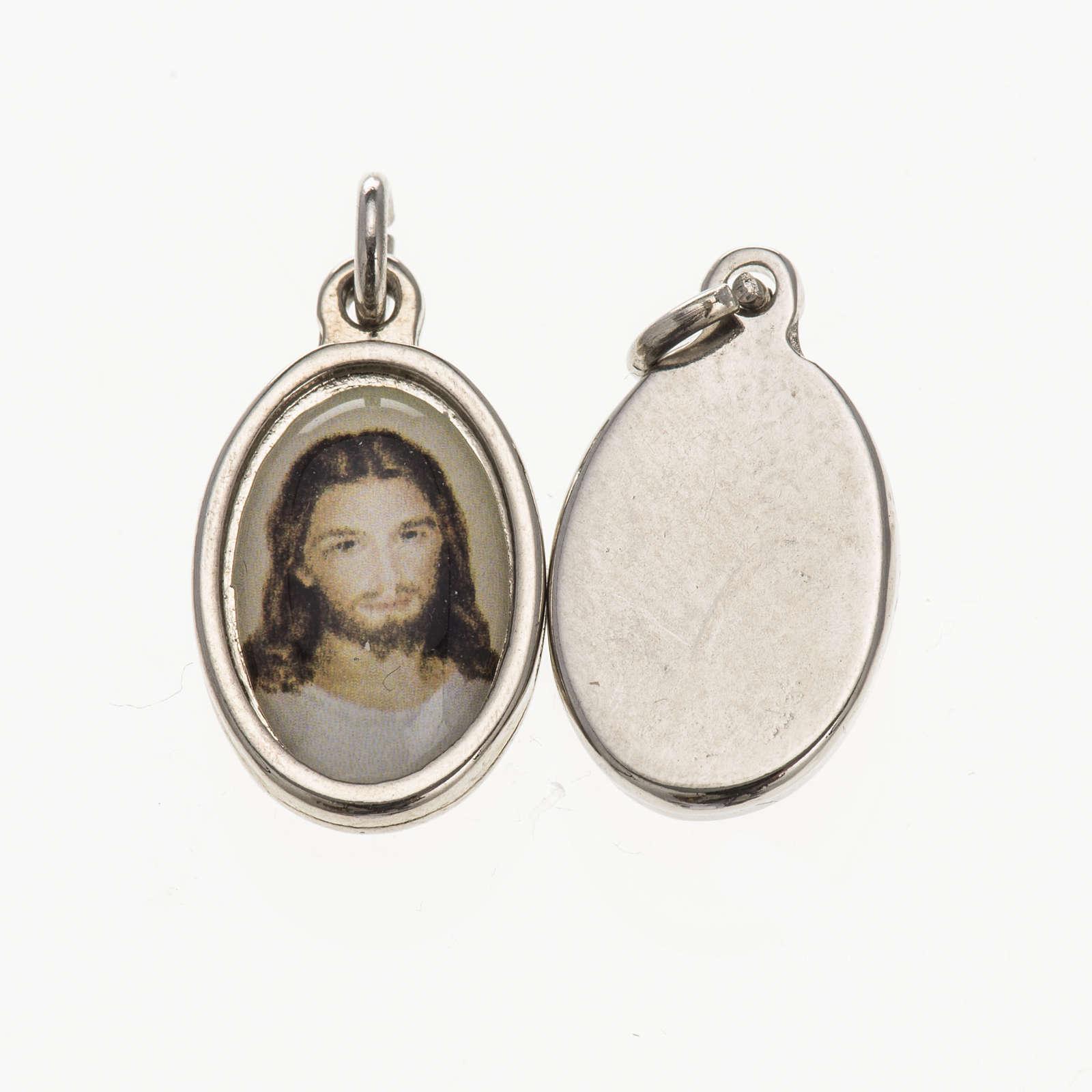 Medaglia volto Cristo metallo argentato resina 1,5x1 cm 4