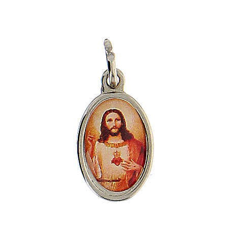 Medaglia Sacro Cuore Gesù metallo argentato resina 1,5x1 cm 4