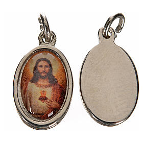Medaglia Sacro Cuore Gesù metallo argentato resina 1,5x1 cm s2