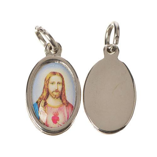 Medaglia Sacro Cuore Gesù metallo argentato resina 1,5x1 cm 1
