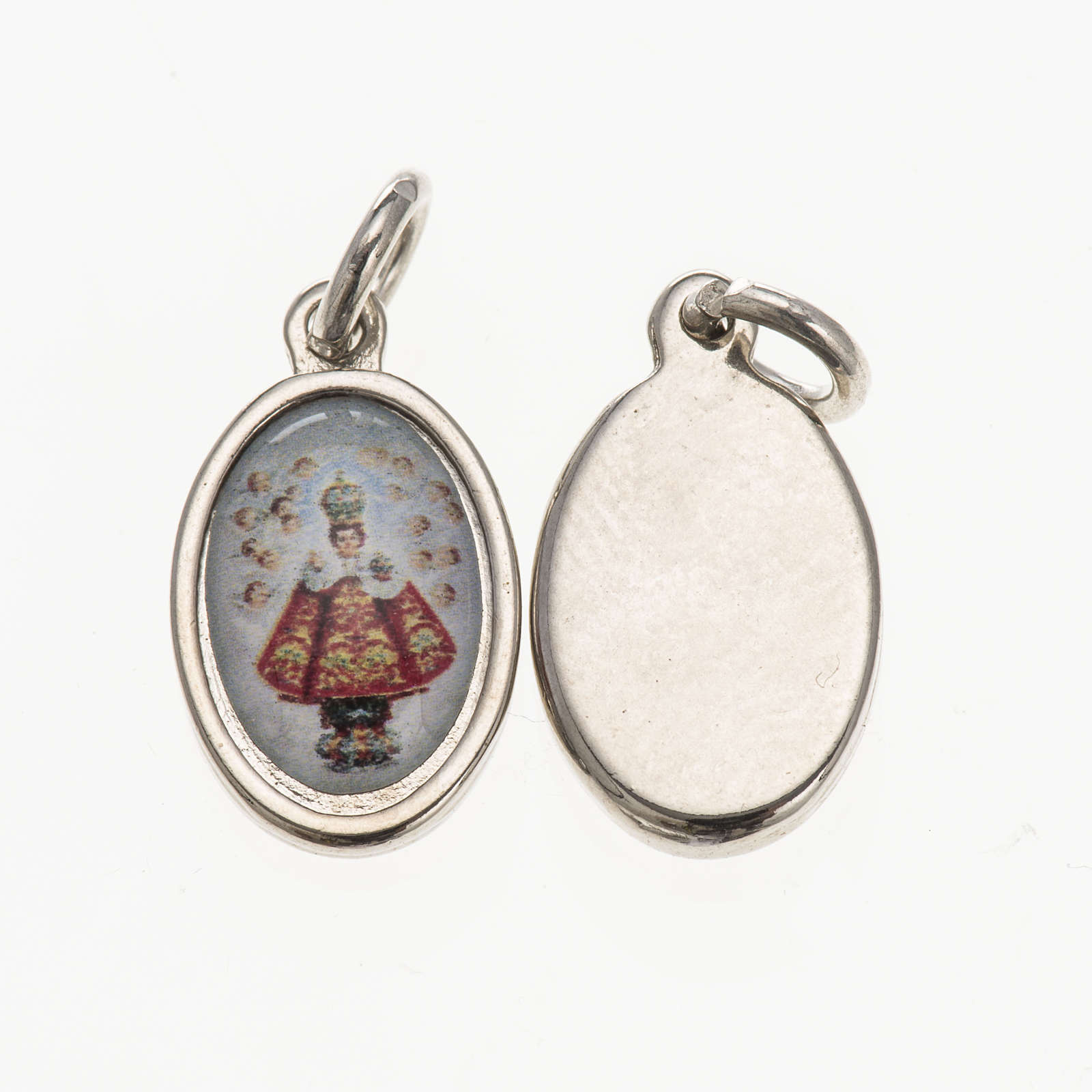 Medal in silver metal and resin baby Jesus of Prague 1.5x1cm 4