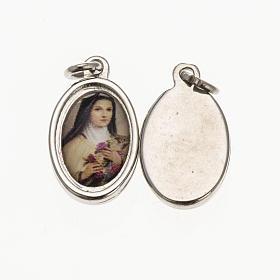 Medals: Medal in silver metal and resin Saint Teresa 1.5x1cm