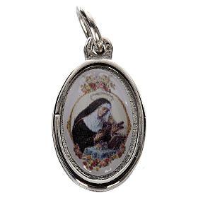Medalla Santa Rita metal plateado resina 1,5x1cm s1