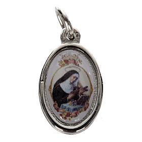 Medaglie: Medaglia Santa Rita metallo argentato resina 1,5x1 cm