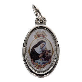 Medals: Medal in silver metal and resin Saint Rita 1.5x1cm