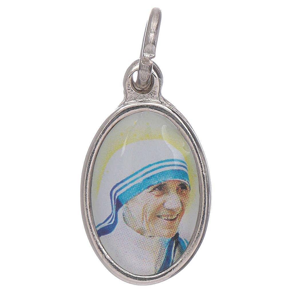 Medaglia Madre Teresa Calcutta metallo argentato resina 1,5x1 cm 4