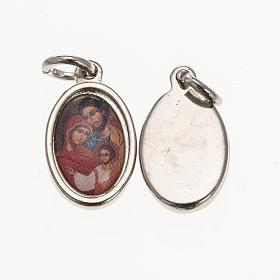 Medalla Sagrada Familia ícono metal plateado resina 1,5x1 s1