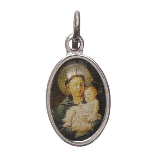 Medaglia Sant'Antonio da Padova metallo argentato resina 1,5x1cm 1