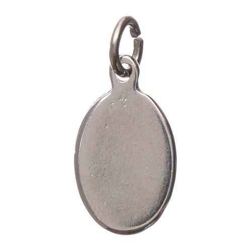 Medaglia Sant'Antonio da Padova metallo argentato resina 1,5x1cm 2