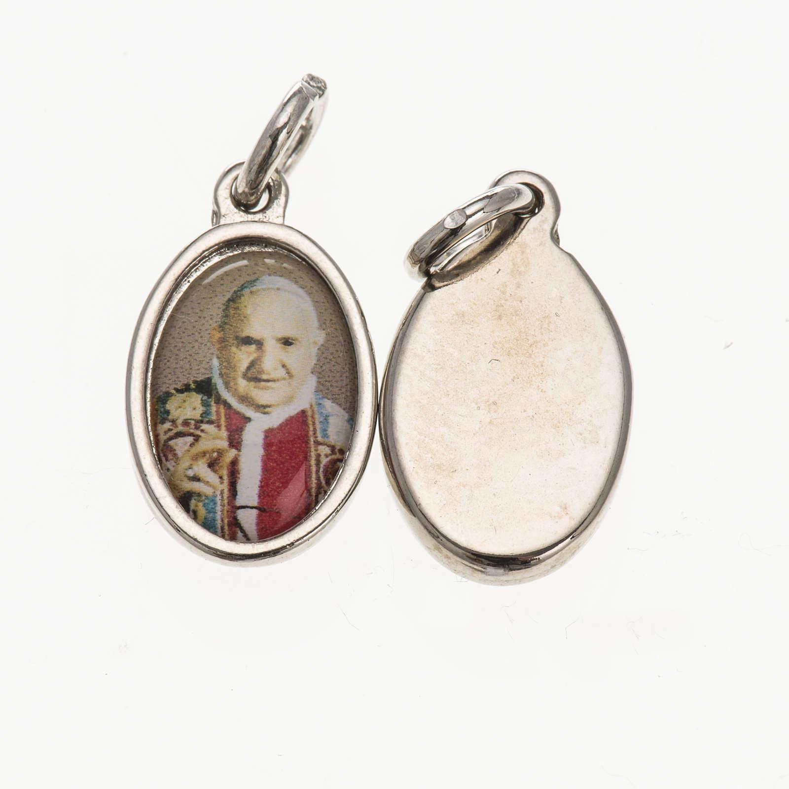Medaglia Papa Giovanni XXIII metallo argentato resina 1,5x1 cm 4