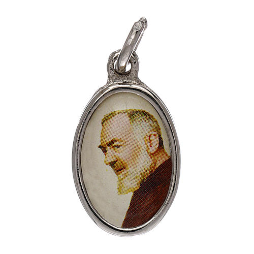 Medalla S. Padre Pío metal plateado resina 1,5x1 cm 1