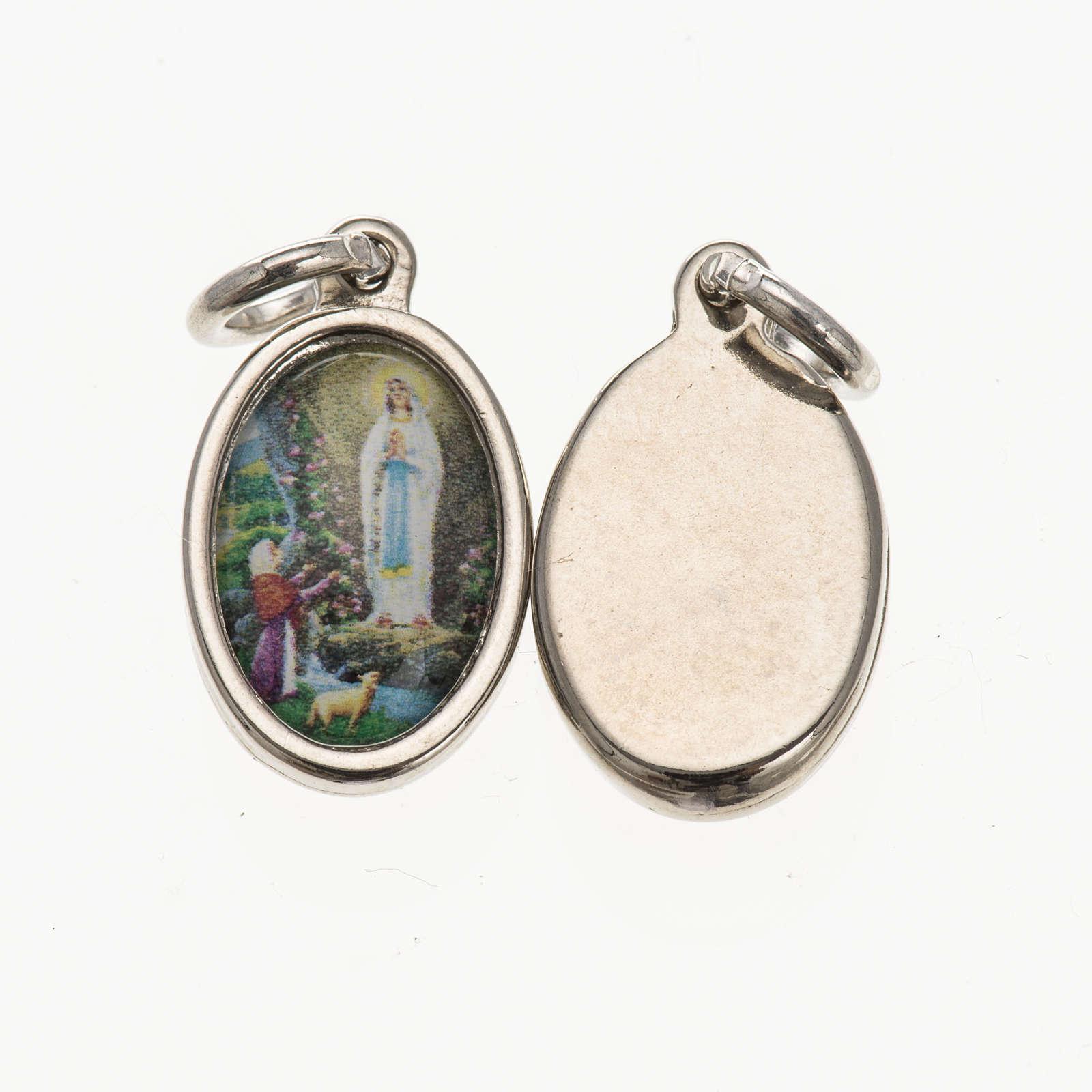 Medaglia Lourdes - metallo argentato resina 1,5x1 cm 4