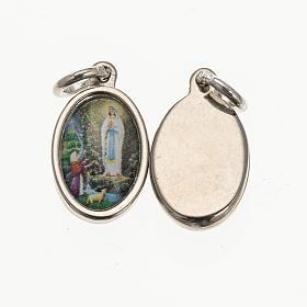 Medaglia Lourdes - metallo argentato resina 1,5x1 cm s1