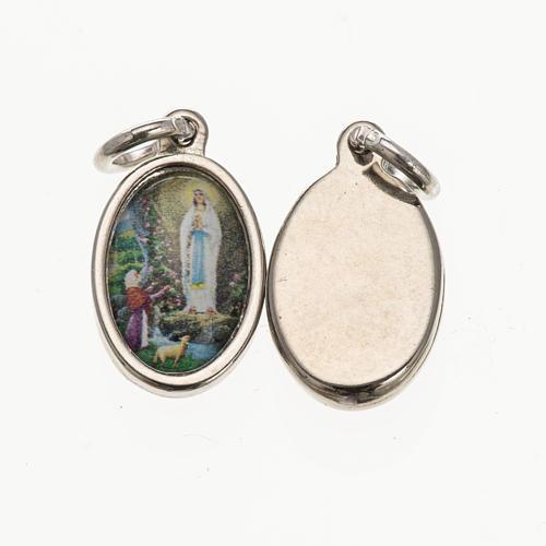 Medaglia Lourdes - metallo argentato resina 1,5x1 cm 1