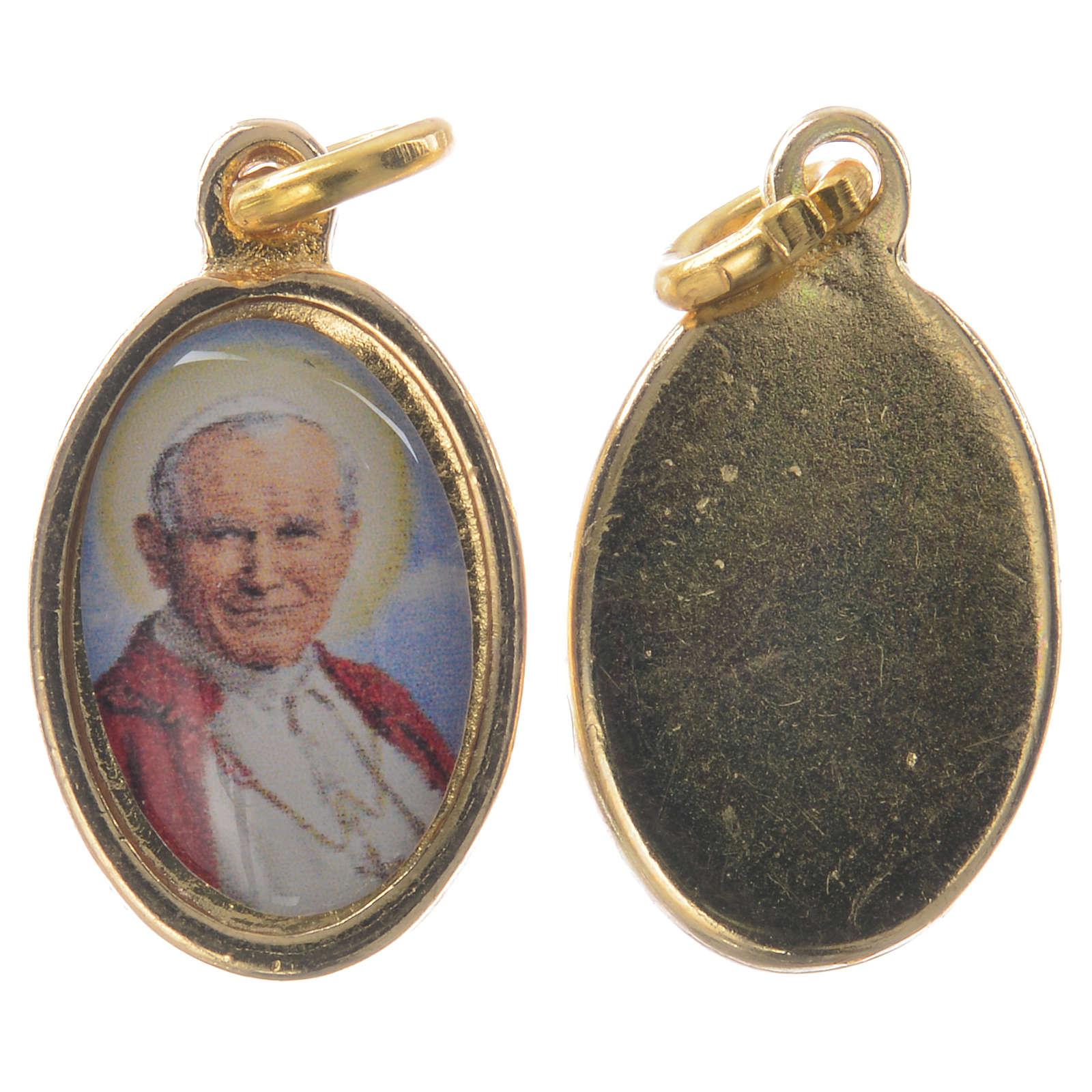 Medaglia Giovanni Paolo II metallo dorato resina 1,5x1 cm 4